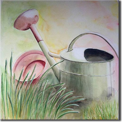 The watering can  in the garden, Plants, flowers, nature - , original framed watercolour, world travel diary, world watercolour