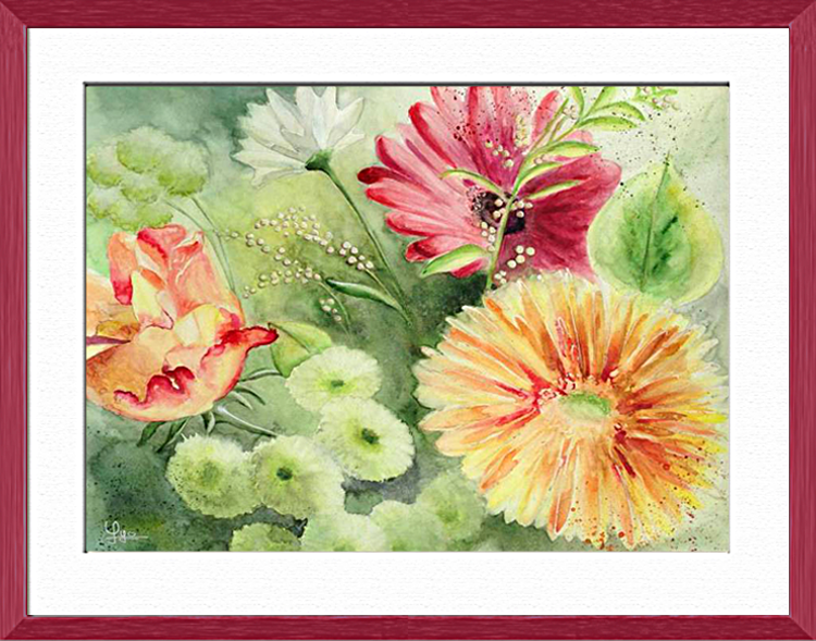 Festive bouquet, Plants, flowers, nature - , original framed watercolour, world travel diary, world watercolour