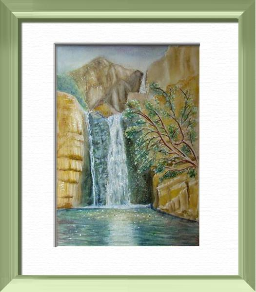 Australian Cascade, Just time for a bath, Australia - World landscapes - , original framed watercolour, world travel diary, world watercolour