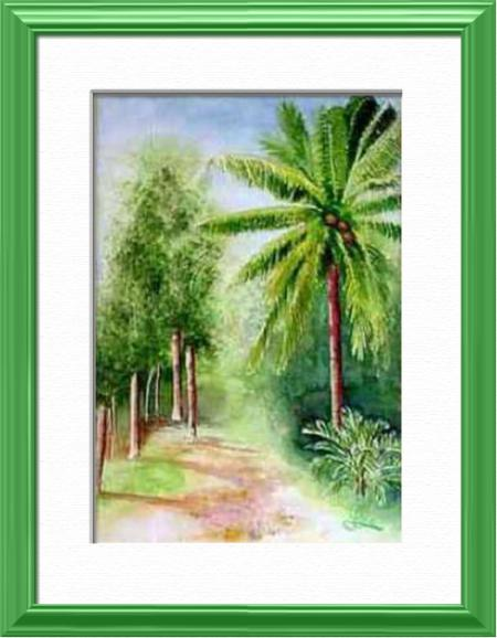 Small familiar path, Darwin - Northern Territory - Australia, Australia - World landscapes - , original framed watercolour, world travel diary, world watercolour