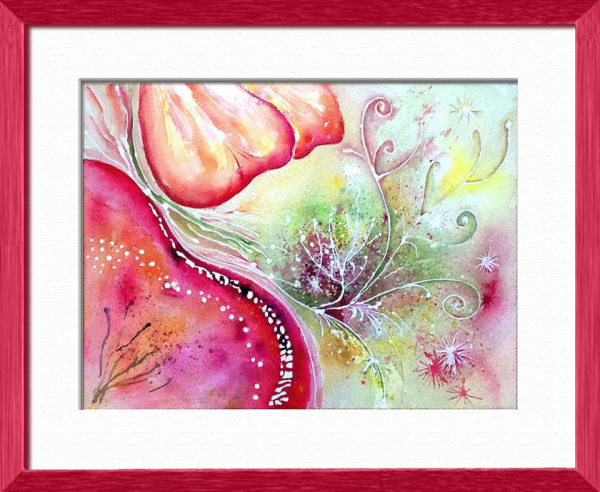 Florescenic, Abstract - Plants, flowers, nature - , original framed watercolour, world travel diary, world watercolour