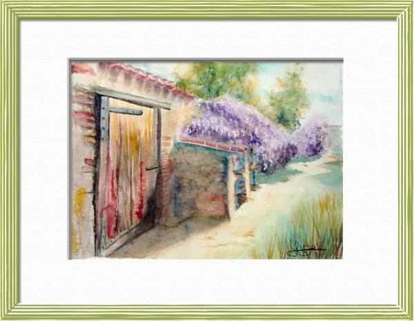 Wisteria and old stones, Spring flowering, World landscapes - , original framed watercolour, world travel diary, world watercolour