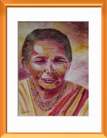 Indian Woman, Inspired from a Berenice's photo, Asia - Portraits - , original framed watercolour, world travel diary, world watercolour
