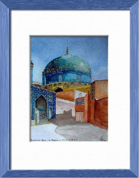 Sheikh Lotfollah's Mosquee, Ispahan - Iran, Asia - Elsewhere sites - , original framed watercolour, world travel diary, world watercolour
