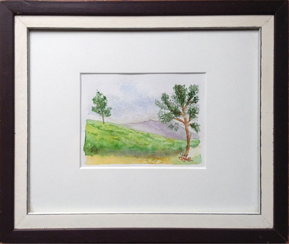 Tea plantations, Java Island - Indonesia, Asia - World landscapes - , original framed watercolour, world travel diary, world watercolour