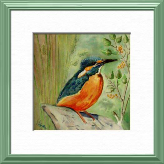 French Kingfisher, From a Quentin's photo, Birds - , original framed watercolour, world travel diary, world watercolour