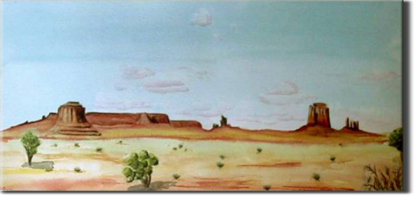 Monument Valley, Utah - USA, Elsewhere sites - World landscapes - , original framed watercolour, world travel diary, world watercolour