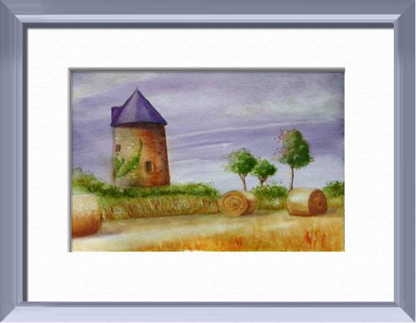 Mill on summer, Vendée - France, World landscapes - , original framed watercolour, world travel diary, world watercolour