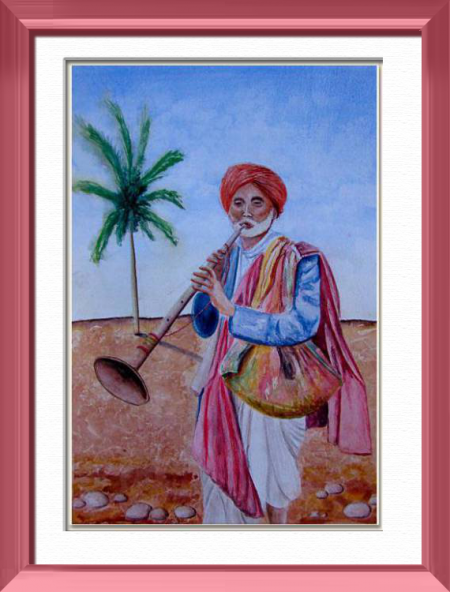 A nomadic musician , Goa - India , Asia - People - , original framed watercolour, world travel diary, world watercolour