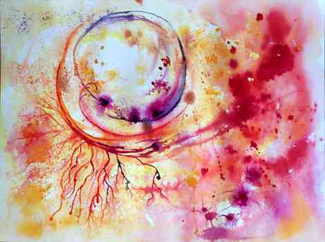 in the eye of the storm, Abstract - , original framed watercolour, world travel diary, world watercolour