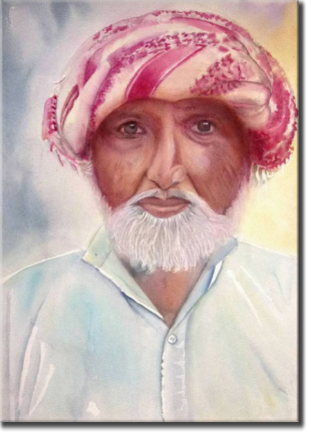 Turban man in Pakistan, Asia - Portraits - , original framed watercolour, world travel diary, world watercolour