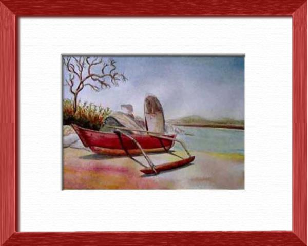 A fishing boat on the beach, Goa - India, Asia - Seascapes - , original framed watercolour, world travel diary, world watercolour