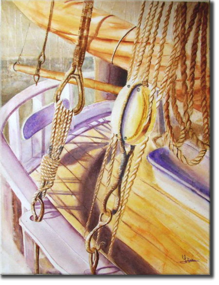 Pulley and ropes, Port Olona - Les Sables d'Olonne, Seascapes - , original framed watercolour, world travel diary, world watercolour