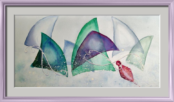 Regatta, Seascapes - Abstract - , original framed watercolour, world travel diary, world watercolour