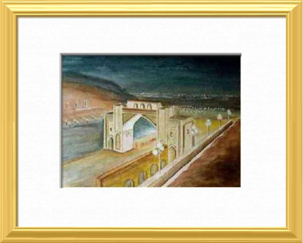 Shiraz by night, Iran, Asia - Elsewhere sites - , original framed watercolour, world travel diary, world watercolour