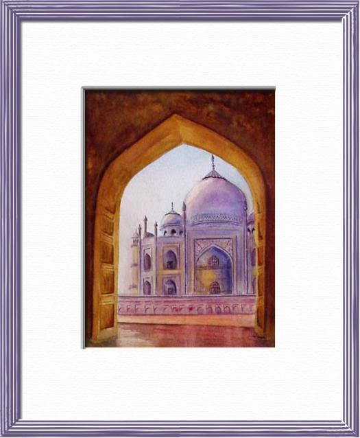 The Taj mahal Mausolee , Agra - India, Asia - Elsewhere sites - , original framed watercolour, world travel diary, world watercolour
