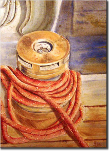 Old winch, Port Olona, Seascapes - , original framed watercolour, world travel diary, world watercolour